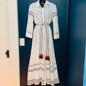 NWT Zara Embroidered Maxi Dress White belt tassels